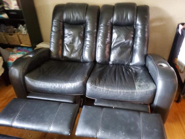 Dual Recliner. Black Leather $100 OBO