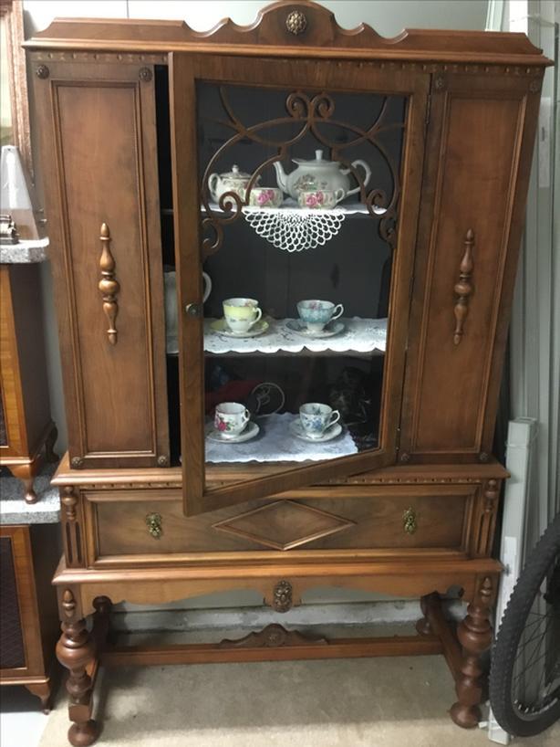Ornate Antique Walnut China cabinet