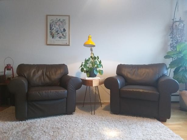 big brown leather chairs