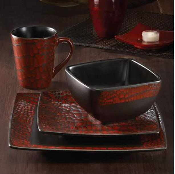 American Atelier Boa 16-Piece Square Dinnerware Set, Red