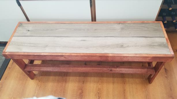 Country style bench with shoe shelf