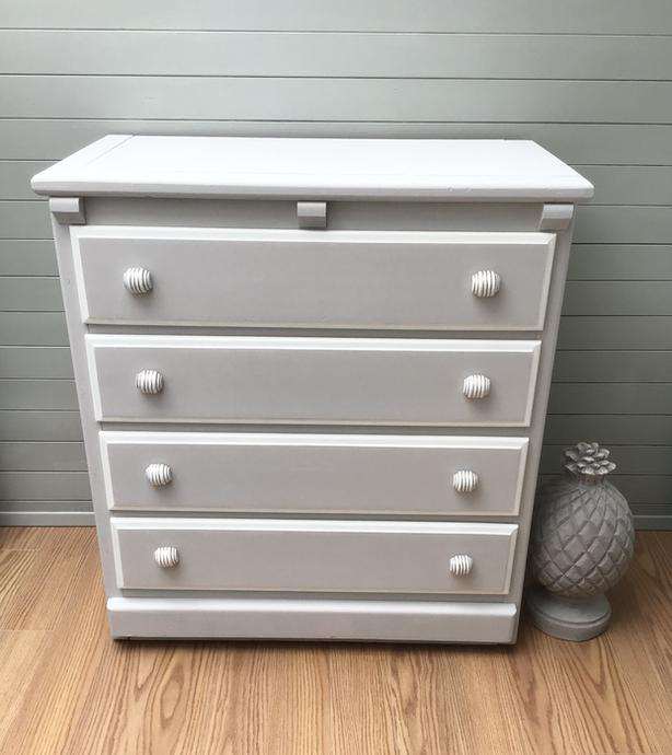 Solid Wood Taupe/White Dresser