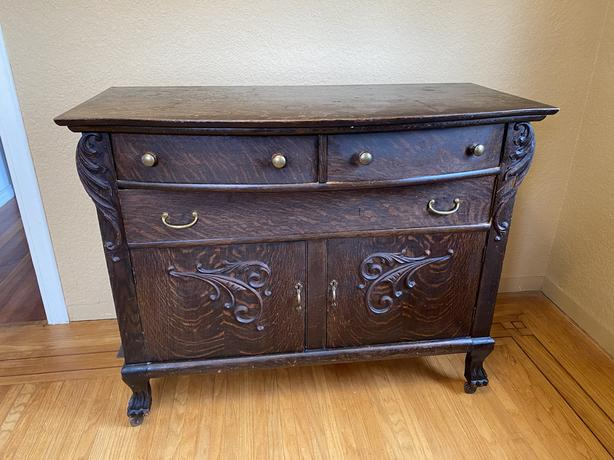 ANTIQUE OAK SIDEBOARD TABLE- ON HOLD