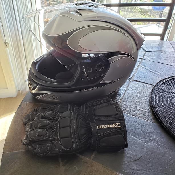 Ladies Icon Helmet + Motorcycle Gloves