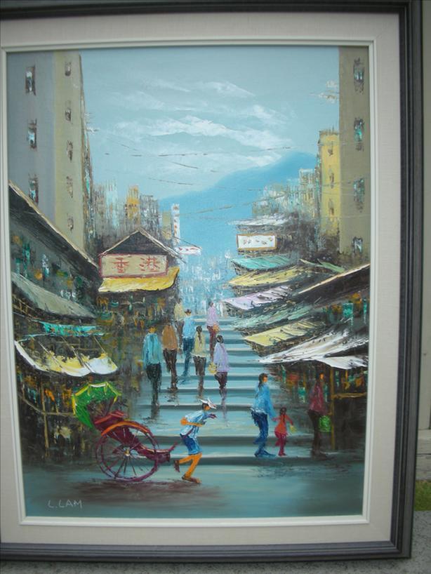 Oriental scene by L. Lam