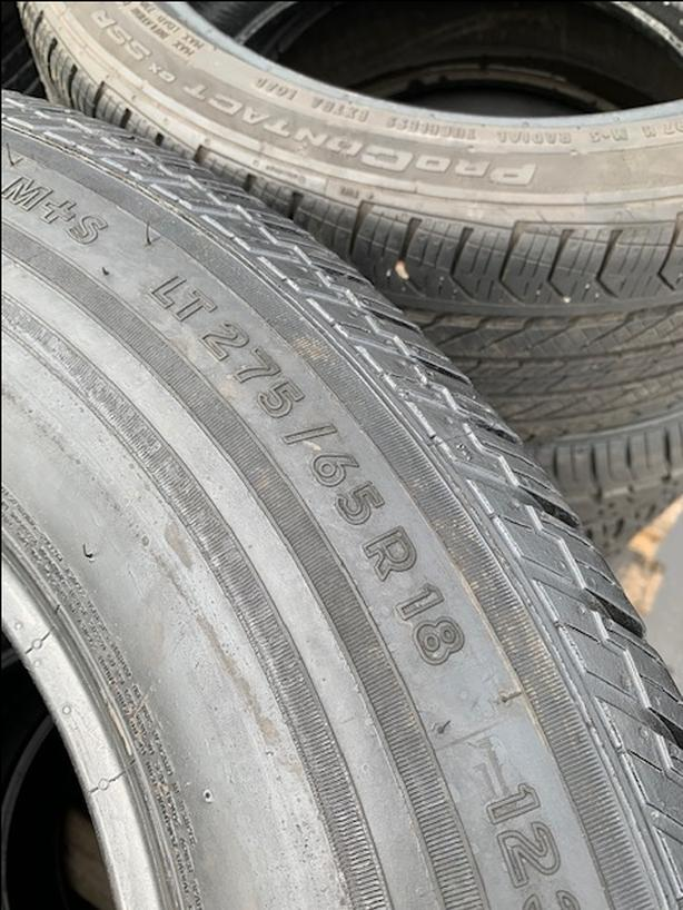 275/65R18 Continental 10ply all season truck tires.