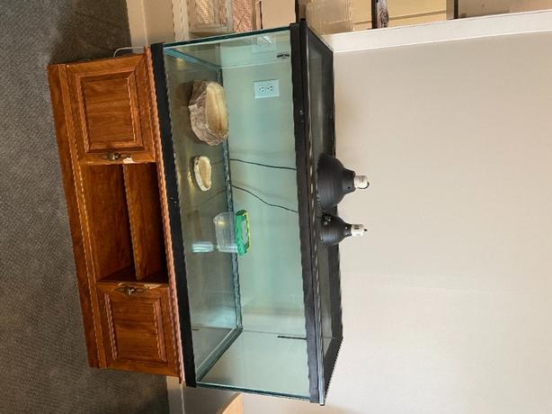 large tank, table, accessories