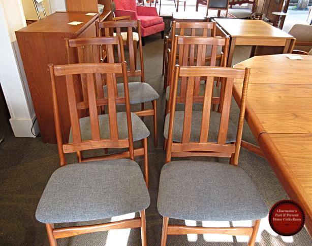AMAZING SET OF 6 MID-CENTURY MODERN HIGH QUALITY TEAK CHAIRS AT CHARMAINE'S