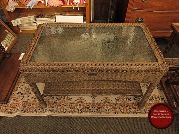 WONDERFUL OUTDOOR GLASS TOP COFFEE TABLE WITH SHELF AT CHARMAINE'S