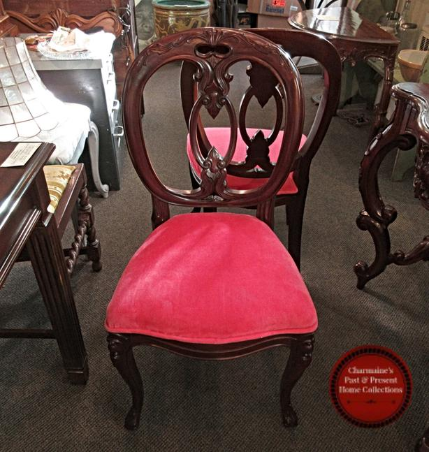 LOVELY CARVED CHAIR WITH BEAUTIFUL PINK UPHOLSTERY AT CHARMAINE'S