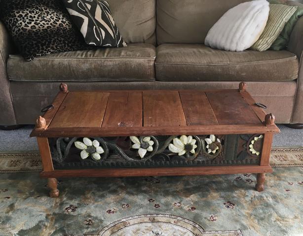 Antique/Vintage Rustic Carved Blanket Box/Coffee Table
