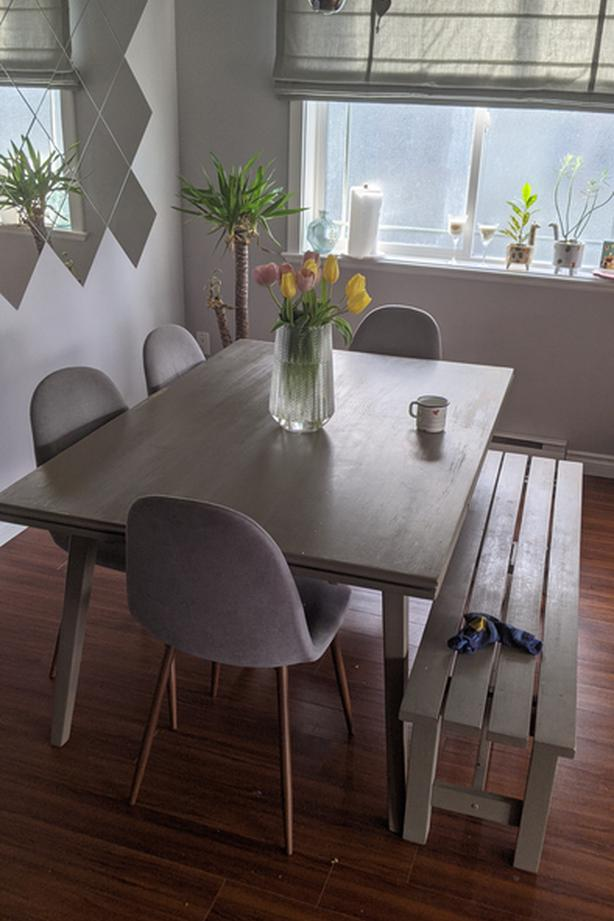 Solid wood large dining table with bench and chairs