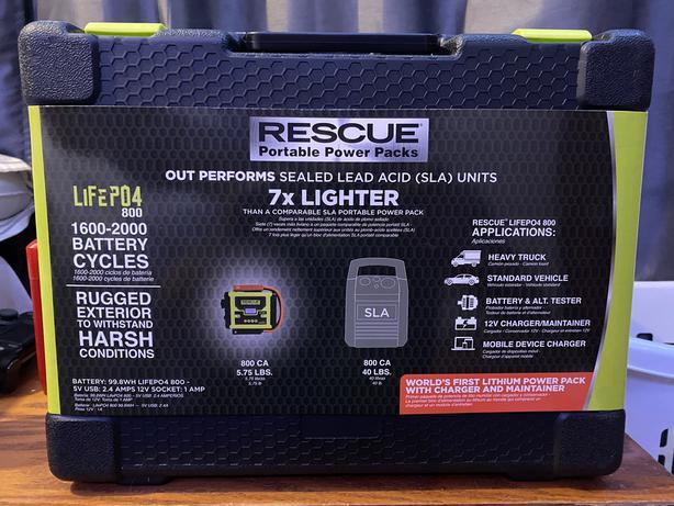 RESCUE® LiFePO4 800 Portable Power Pack - Quick Cable - BNIB