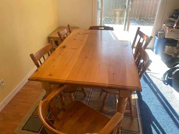 Wooden Kitchen table and six chairs