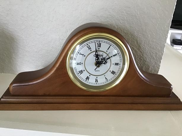 German made vintage wooden mantle clock.