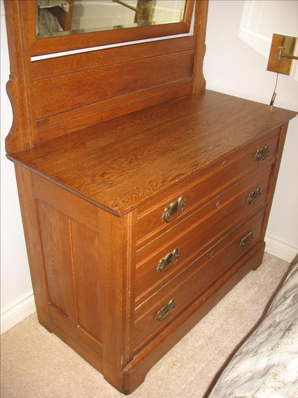Antique Eastlake 3 Drawer Oak Dresser Chest Mirror Circa 1900
