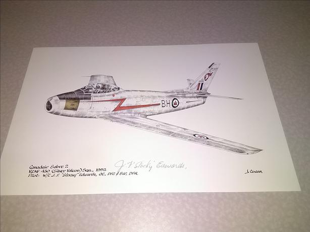 F-86 Canadair Sabre 2 Signed James F. Edwards Ace Aviation Art Print
