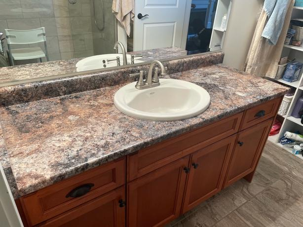 60 inch Solid wood vanity, counter, sink and taps