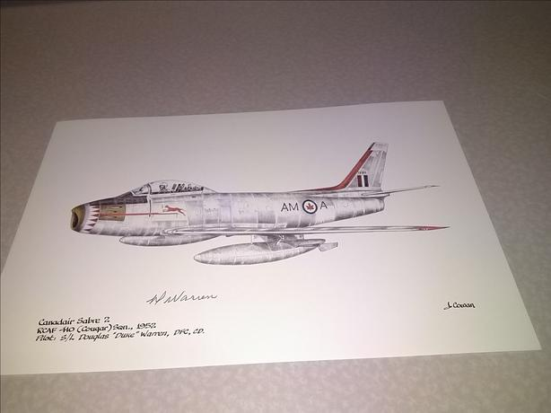 Canadair Sabre Mk 2 F-86 RCAF Pilot Signed Aviation Art Print