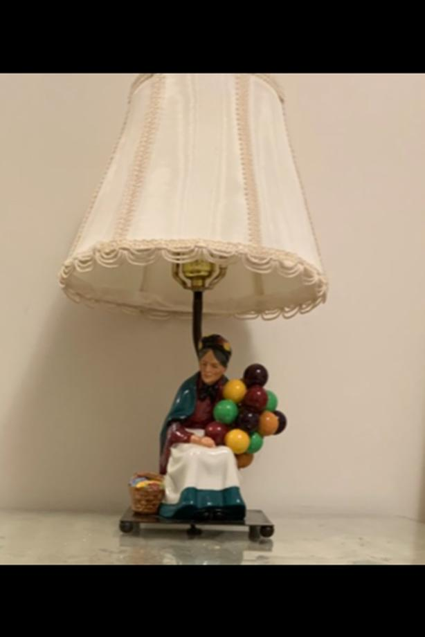 Pair of Vintage Royal Doulton Balloon Seller Lamps
