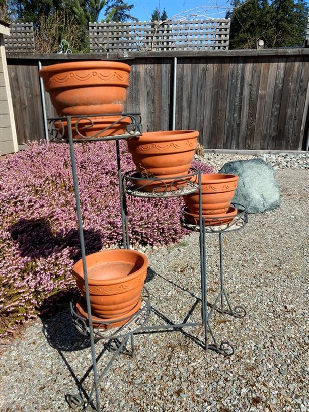 Folding Iron Flower Pot Stand and four decorative pots