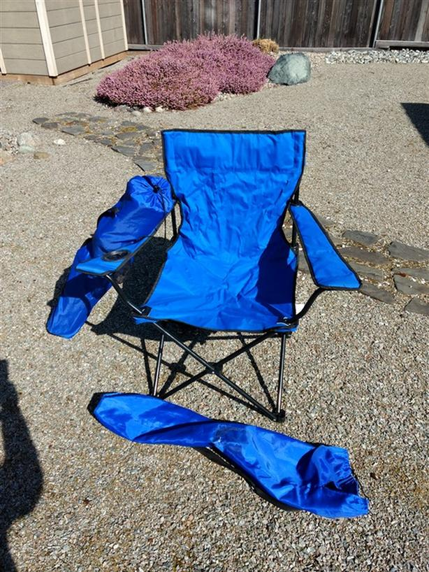 Two folding portable lawn chairs