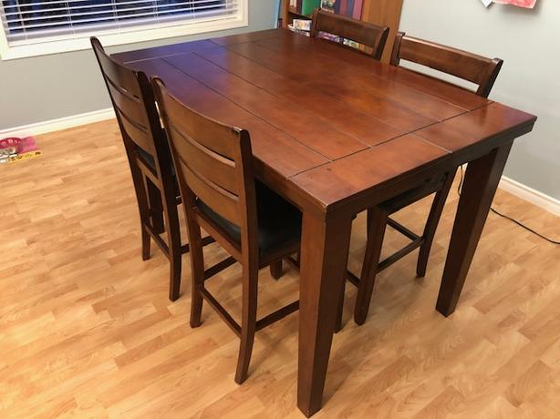Solid wood counter-height table w/ leaf and eight chairs