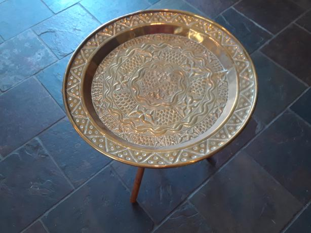 Antique Hammered Brass Tray/Table