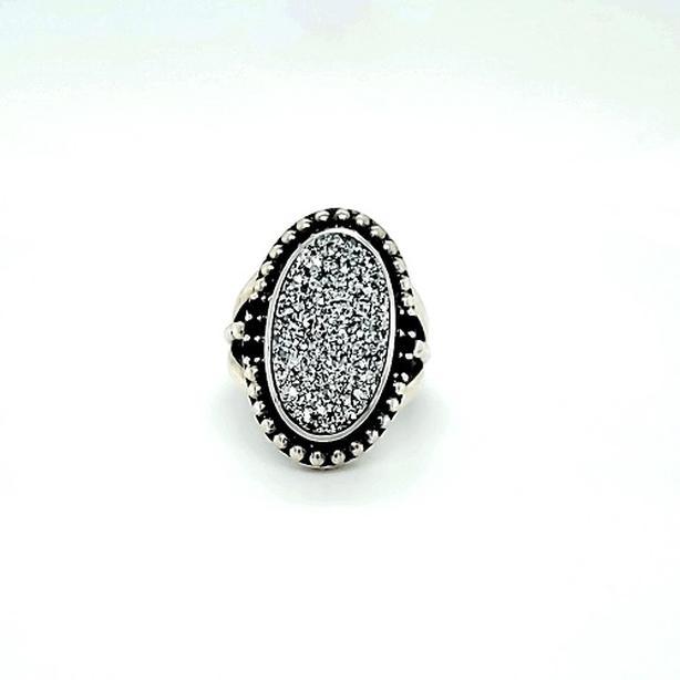 Sterling Silver Druzy & Black Onyx Ring (I-37547)