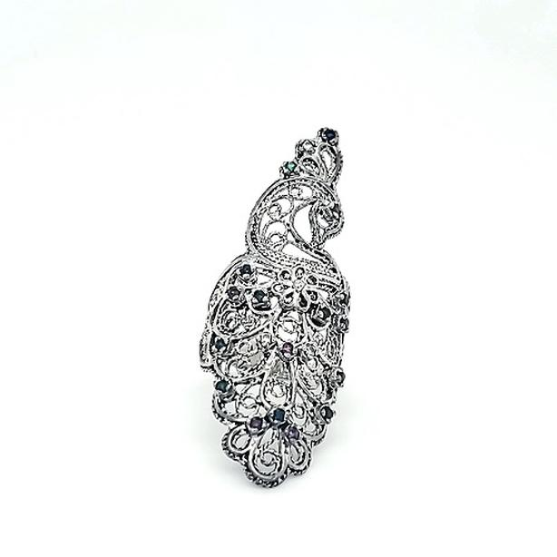 DGS Sterling Silver Multi Colored Peacock Filigree Style Ring (I-37555