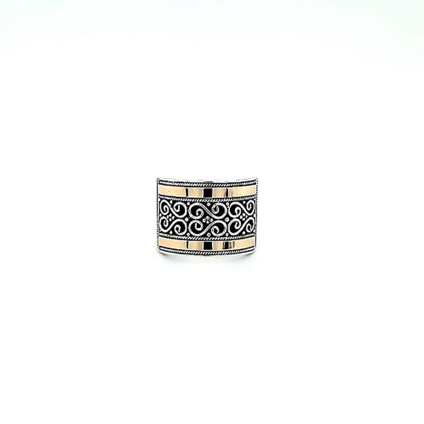 Sterling Silver Ring w/ 18K Yellow Gold Bar Inlay Accents (I-37556)
