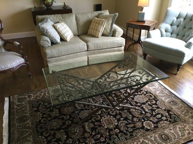 Glass and Bronze Iron Coffee table
