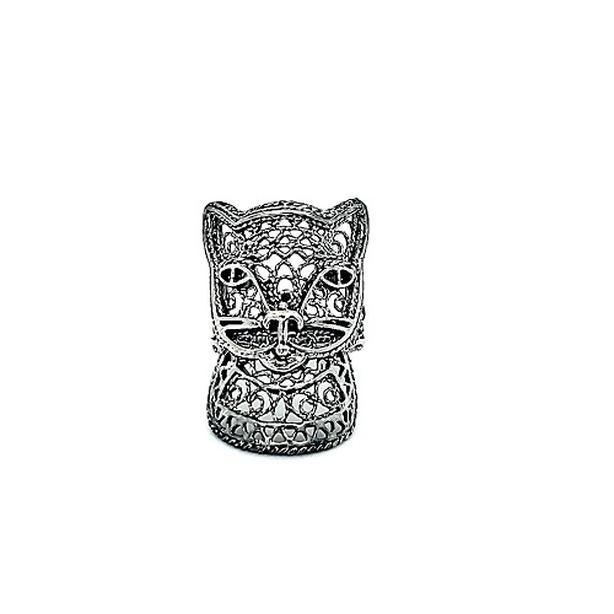 DGS Sterling Silver Filigree Cat Ring (I-37553)