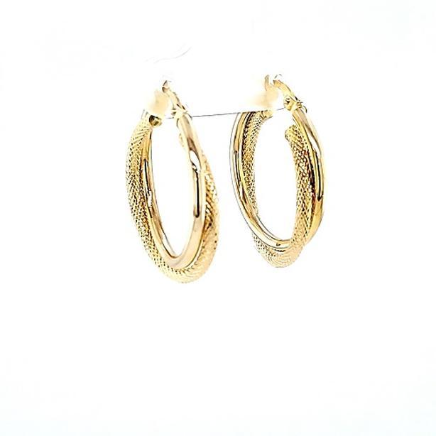 Pair of 14K Yellow Gold Textured Double Hoop Earrings (35643-13)