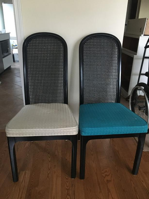 6x Tall black dining chairs with rattan back