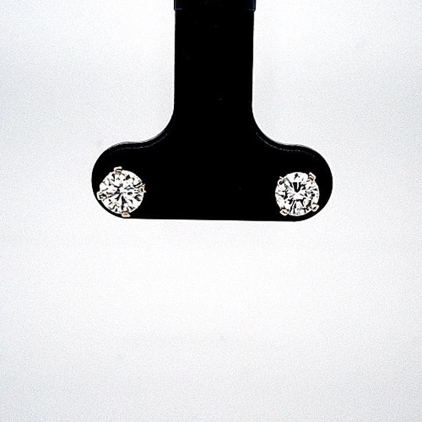 Pair of 14K White Gold Round Brilliant Cut Diamond Stud Earrings (23901-11)