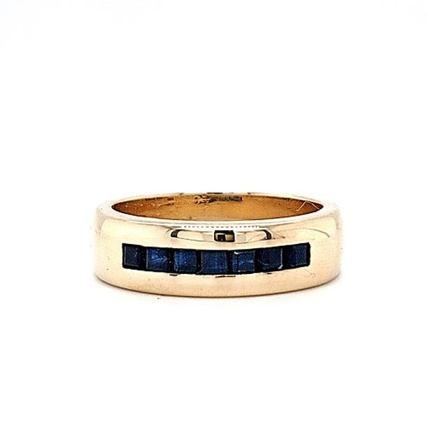 10K Yellow Gold 7 Square Cut Blue Sapphire Band Style Ring (33085-11)