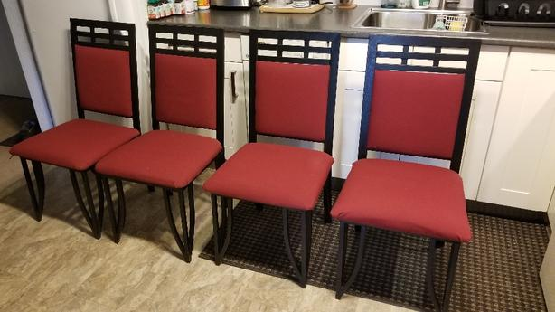 4 metal chairs with fabric seat and backing
