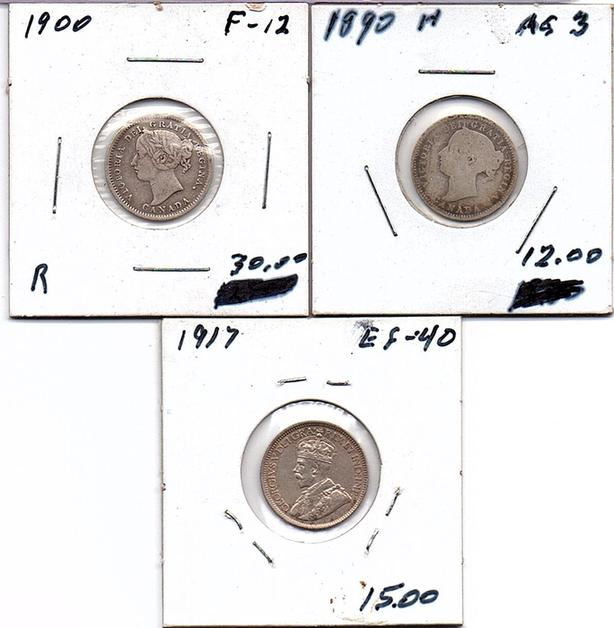 Canadian Queen Victoria to King George V, 10 cent pieces  (239 0904)
