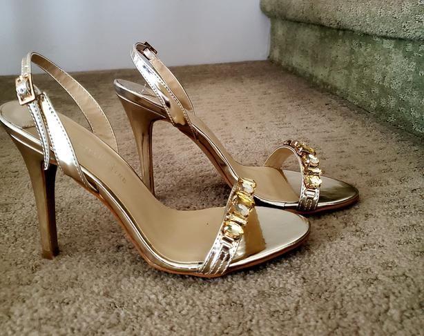 Gold jeweled slingbacks