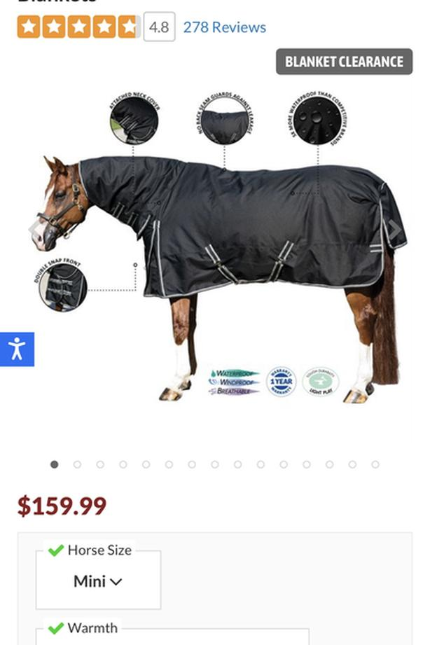 Like new Mini horse Stormshield blizzard blanket with neck cover
