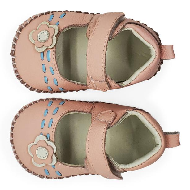 """NEW...Size 4 (5"""" HEEL TO TOE), ADORABLE GENUINE SOFT PINK LEATHER BABY SHOES"""