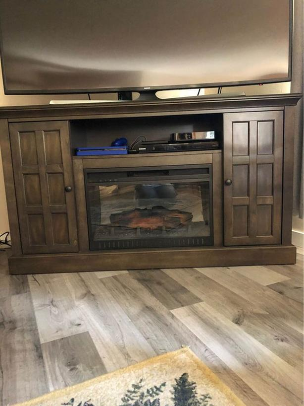 "Tv stand with storage shelves & electric fireplace 60"" w x 17"" d x 34"" h"