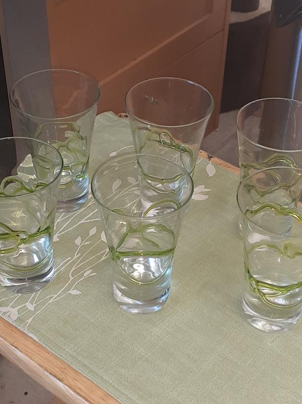 Green stripped glasses