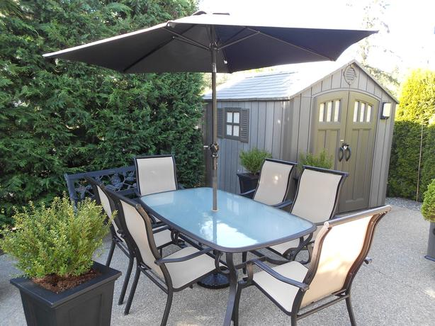 WANTED: PATIO TABLE AND 6 CHAIR SET WITH UMBRELLA