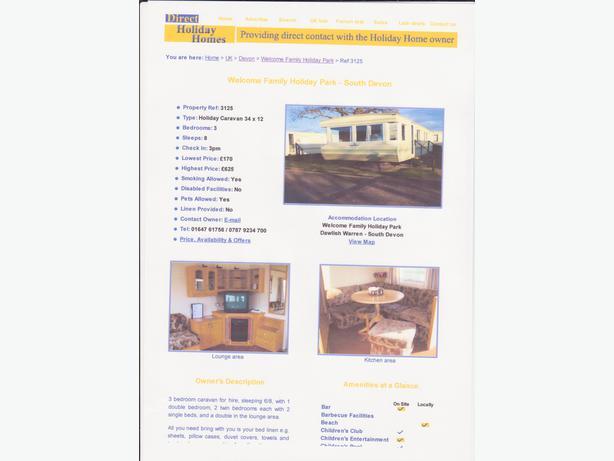 Caravans, chalets, & villa's for hire in Dawlish Devon