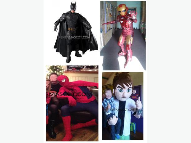 BATMAN DARK KNIGHT SPIDERMAN IRONMAN MASCOT COSTUME FANCY DRESS HIRE