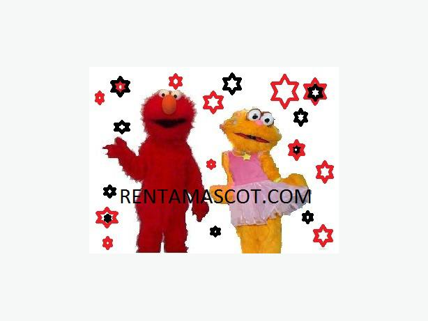 ELMO ZOE SESAME STREET ADULT FANCY DRESS MASCOT COSTUME HIRE PARTY