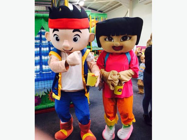 HIRE JAKE AND THE NEVERLAND PIRATES DORA ADULT MASCOT FANCY DRESS COSTUME PARTY
