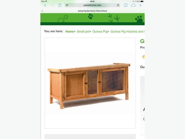 Wooden guinea pig rabbit hutch with food water bottles hay for Guinea pig stand